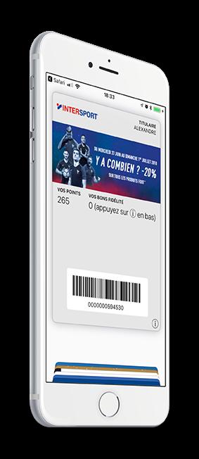 Carte de fidélité Intersport dématérialisée sur wallet mobile