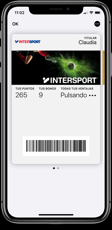 Tarjeta de fidelidad Intersport sobre el wallet mobile