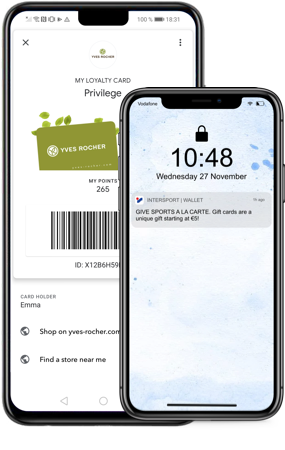 Yves Rocher & Intersport on mobile wallet